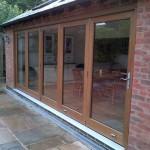 external view of bi folding oak doors